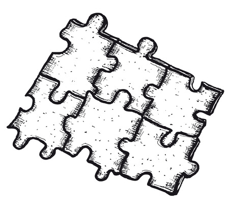 Illustration of a hand drawn jigsaw puzzle elements