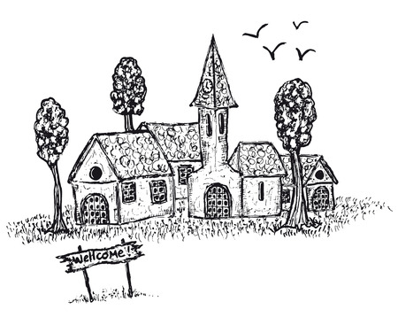 Illustration of a hand drawn country village and welcome sign board