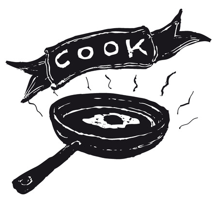 Illustration of a hand drawn fried egg, pan and cook banner