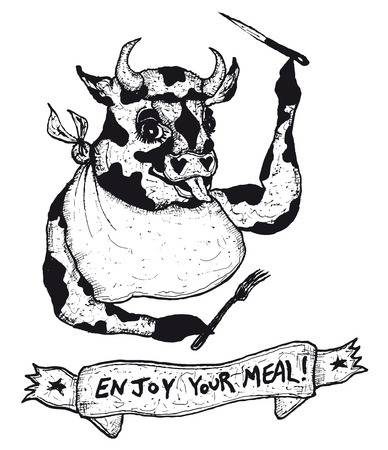 Illustration of a hand drawn enjoy your meal banner message and funny cow character