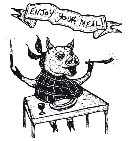 Illustration of a hand drawn enjoy your meal banner message and funny pig character