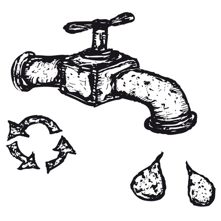 Illustration of a hand drawn tap with drops of water and recyclable icon Ilustração