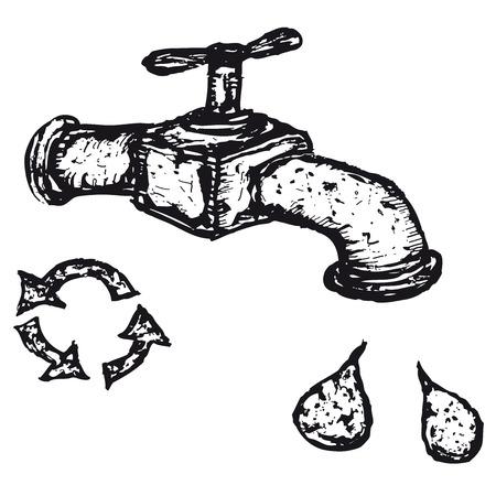 reciclable: Ilustración de un grifo dibujado a mano con gotas de agua y el icono reciclable Vectores