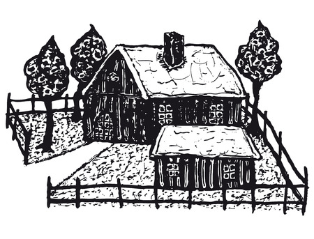 Illustration of a hand drawn winter country chalet house with fence and trees Ilustração
