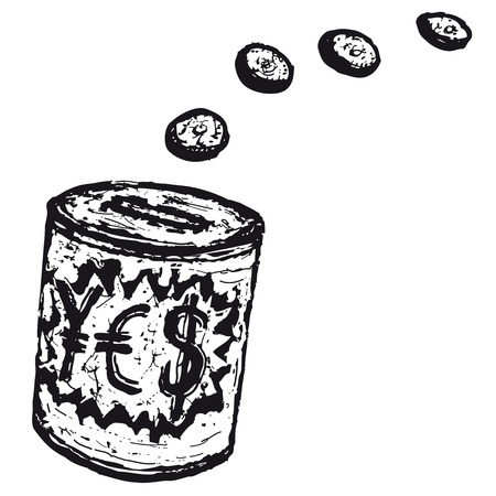 Illustration of a hand drawn money-box with coins