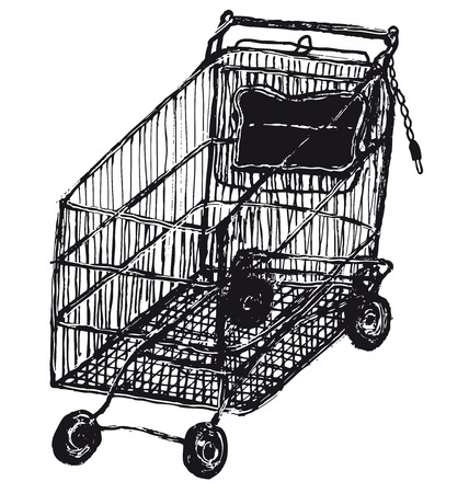 Illustration of a hand drawn isolated shopping cart