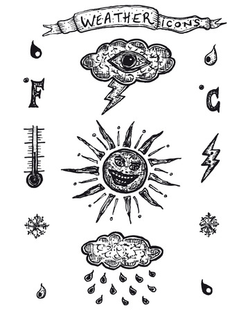 Illustration set of a hand drawn funny vintage retro weather icons