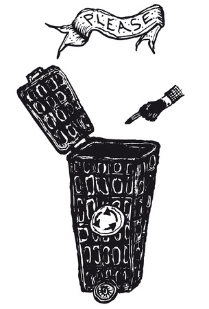 Illustration of a hand drawn recyclable open trash can with a finger pointing hand and please banner