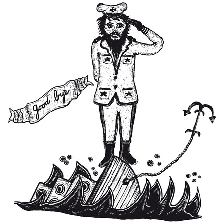 addio: Illustrazione di un capitano disegnati a mano e la sua barca che affonda con un banner addio