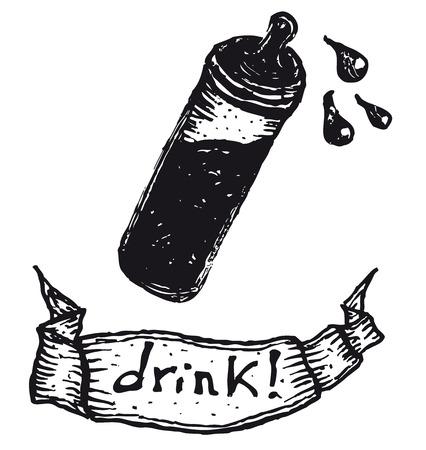 Illustration of a hand drawn baby milk bottle with teat and drink banner Ilustração