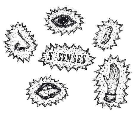 Illustration of a hand drawn set of five senses icons, with eyes for seeing,nose for smelling, mouth for tasting, fingers for touching and ears for hearing