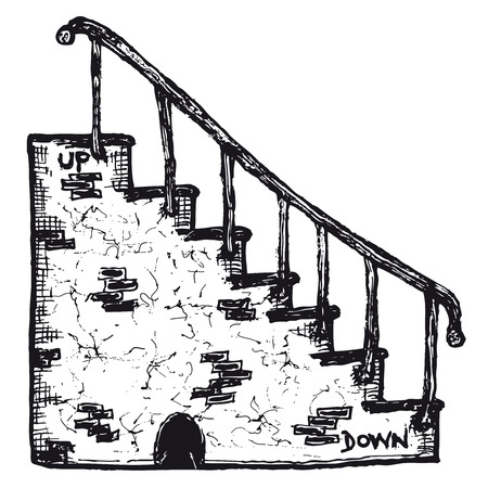 Illustration of a hand drawn rock stairs with handrail
