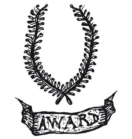 Illustration of a hand drawn wreath of laurel leaves with award banner Ilustração