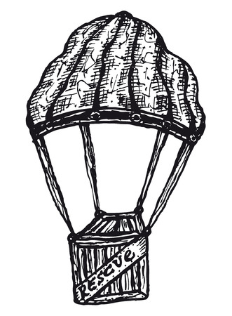 altruism: Illustration of a hand drawn parachute holding a wooden aid box Illustration