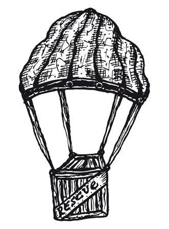 Illustration of a hand drawn parachute holding a wooden aid box Ilustração