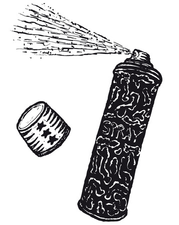 Illustration of a hand drawn spray can with top and vapors Ilustração