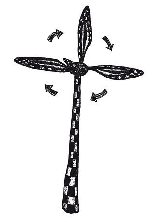 Illustration of a hand drawn wind turbine with arrows Ilustração