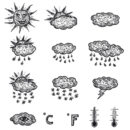 sketched icons: Illustration set of hand drawn doodle sketched weather icons with meteorology interface elements, like sun, clouds, rain, thunder and temperature symbols