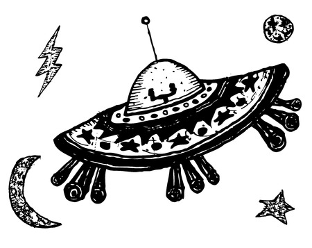 platillo volador: Ilustración de una mano divertido doodle retro de la historieta Flying Saucer Vectores