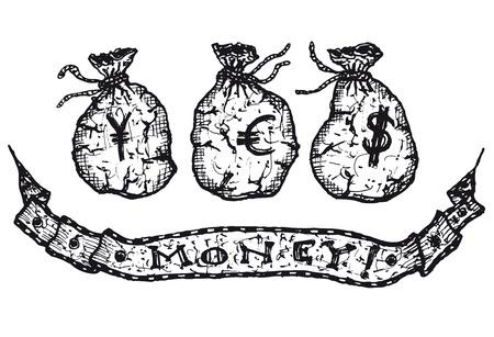 Illustration set of hand drawn Yen, Dollar and Euro money bags Ilustração