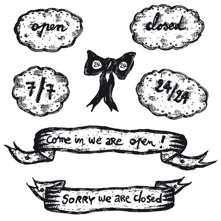 Illustration of a set of doodle hand drawn open and closed signs icons set