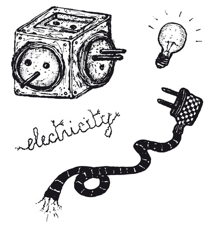 watts: Illustration of a hand drawn electric elements set Illustration