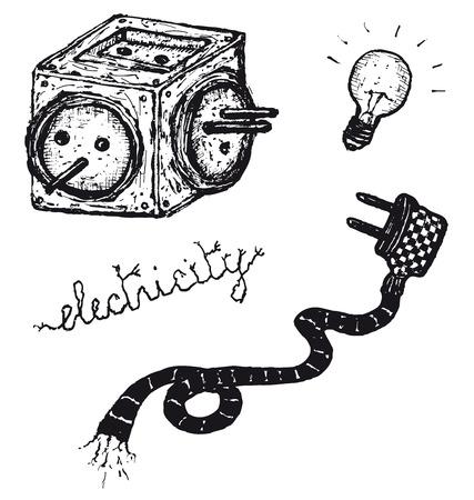 Illustration of a hand drawn electric elements set Ilustração