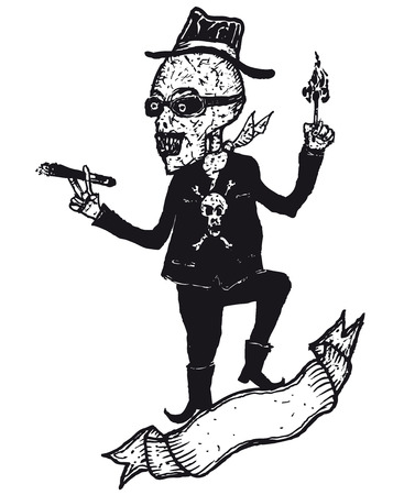 Illustration of a hand drawn skeleton cartoon character lighting a cigar and blank banner