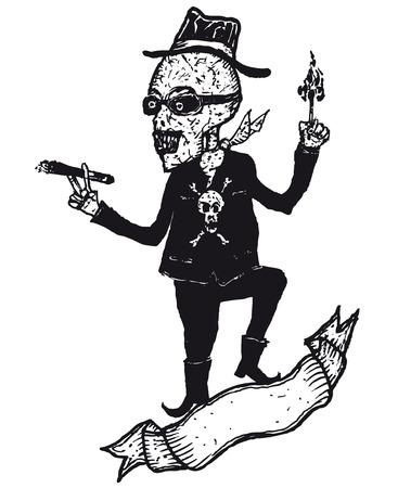 skeleton cartoon: Illustration of a hand drawn skeleton cartoon character lighting a cigar and blank banner
