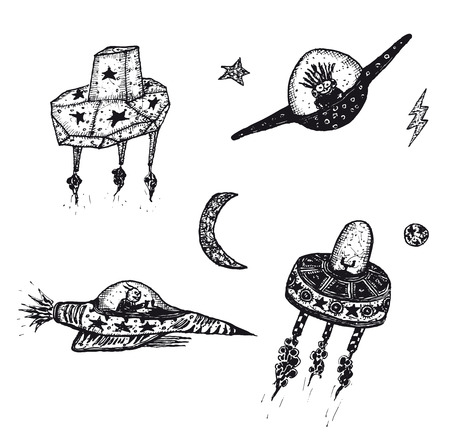 black white: Illustration set of hand drawn funny cartoon sci-fi spaceship, Ufo and flying saucers