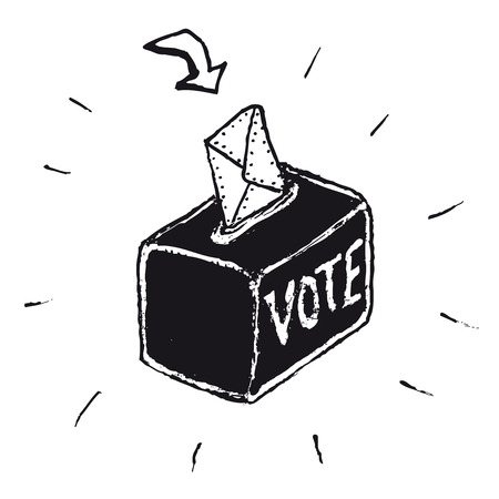 Illustration of a hand drawn vote box
