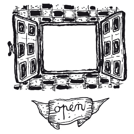 Illustration of a hand drawn open window with banner