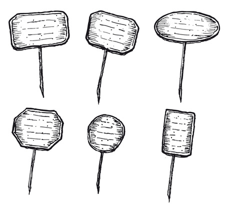 Illustration of a hand drawn set of labels