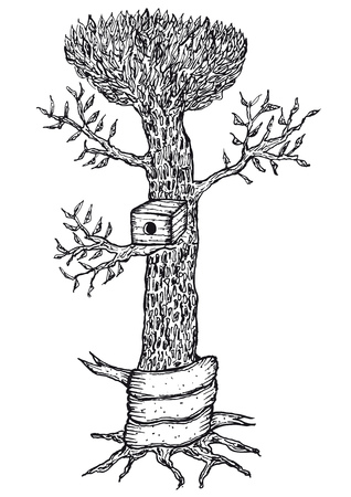 Illustration of a hand drawn bird house in a tree with blank banner