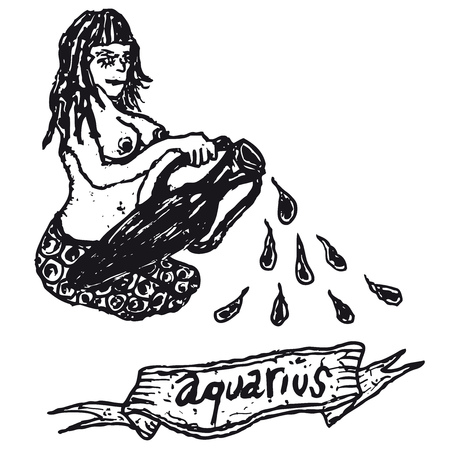 naked woman: Illustration of a hand drawn Aquarius horoscope sign with banner