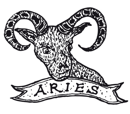 Illustration of a hand drawn Aries horoscope sign with banner Ilustração