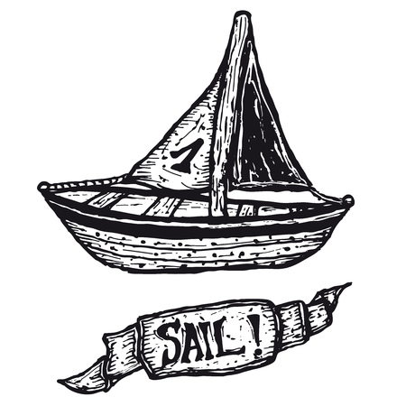 Illustration of a hand drawn boat and sail banner