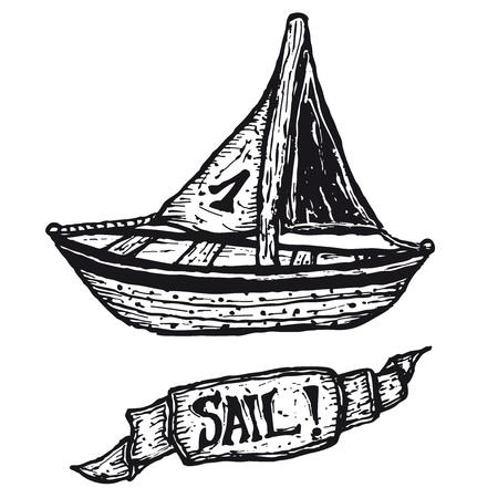 hull: Illustration of a hand drawn boat and sail banner