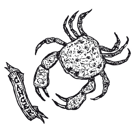 Illustration of a hand drawn Cancer horoscope sign with banner