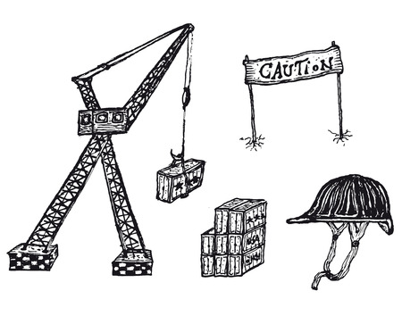 Illustration of a hand drawn construction site icons set