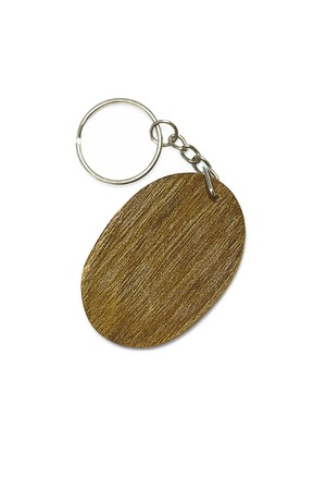 keyring: It is Wooden key ring isolated on white. Stock Photo
