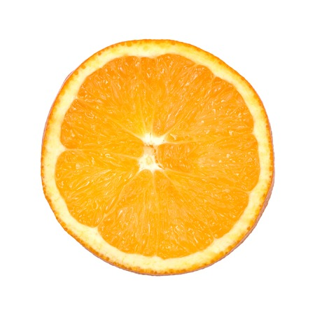 It is Piece of orange isolated on white.