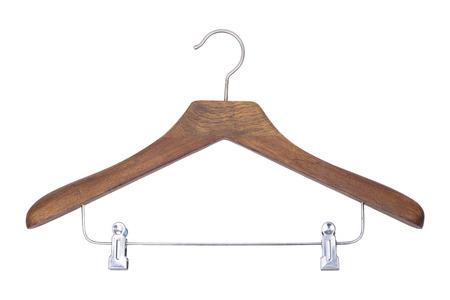 Het is Houten hanger op wit wordt geïsoleerd. Stockfoto