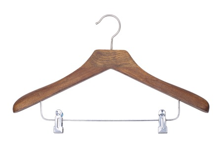 It is Wooden hanger isolated on white.