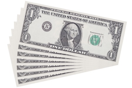 It is Layer of one dollar isolated on white.