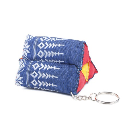 key ring: It is Pillow key ring isolated on white.