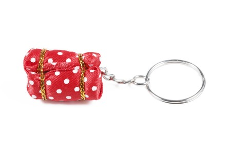 key ring: It is Red key ring isolated on white. Stock Photo