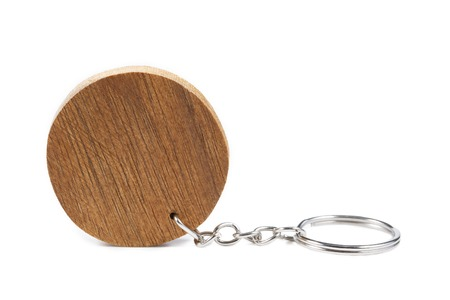 key ring: It is Circle wooden key ring isolated on white. Stock Photo