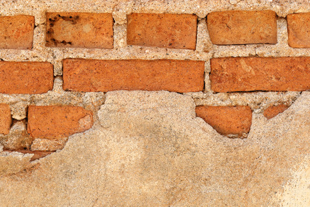scraggly: It is Broken brick wall for pattern. Stock Photo