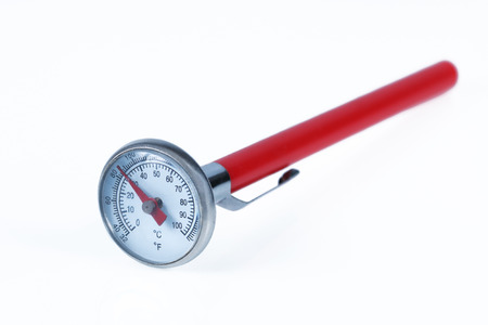 glass thermometer: It is Food and beverage thermometer isolated on white.